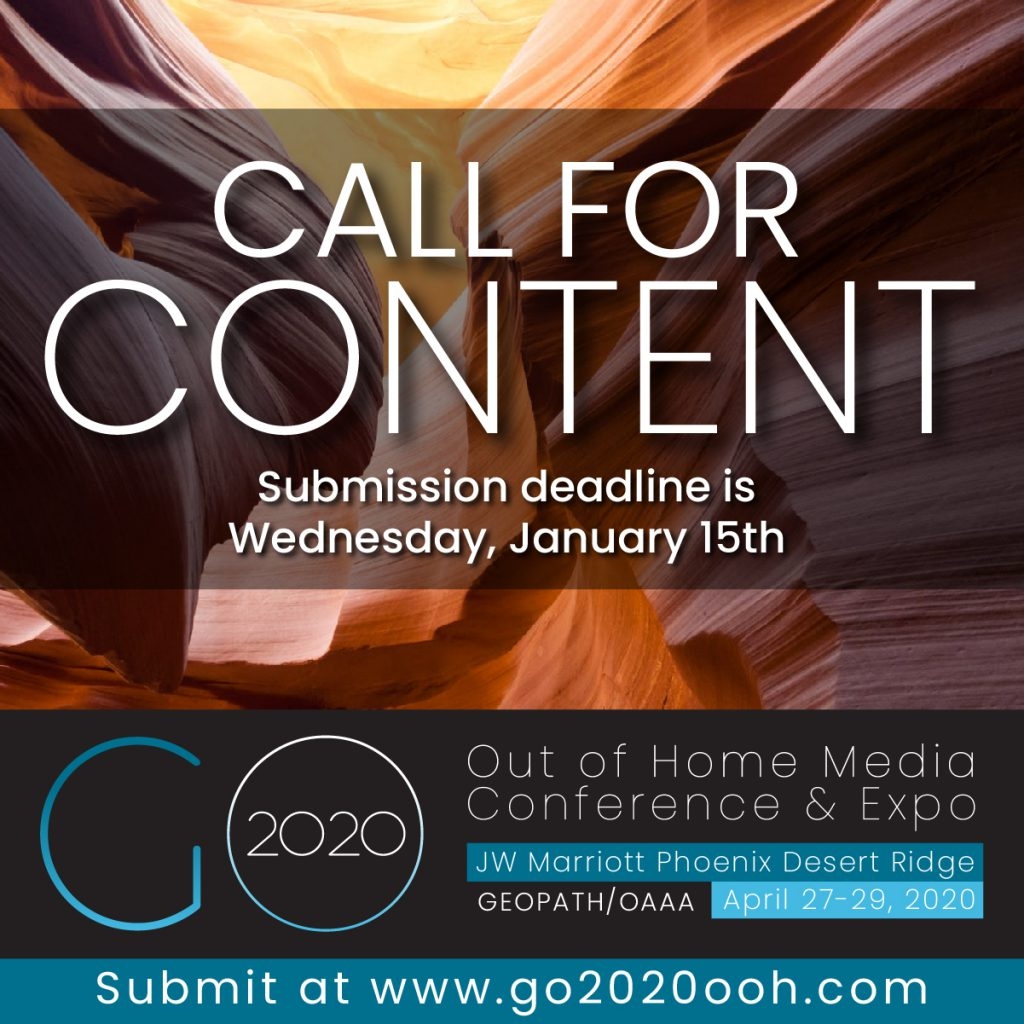Geopath and OAAA Seeking Speakers and Presenters for 2020 Out of Home Media Conference and Expo <br/> <span style='color:#000000;font-size: 18px;'>Deadline to submit content proposals for breakout sessions is Wednesday, January 15, 2020</span>