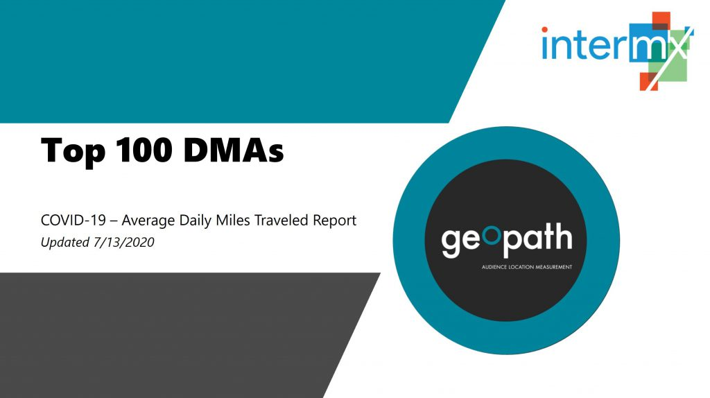 Top 100 DMAs Report (Updated Data Through July 9th) <br/> <span style='color:#000000;font-size: 18px;'>Average daily miles traveled remains well above the April low-points</span>