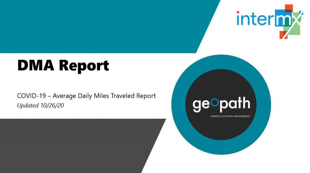 DMA Report | October 26th, 2020 <br/> <span style='color:#000000;font-size: 18px;'>Report showing travel trends for every DMA across the country</span>