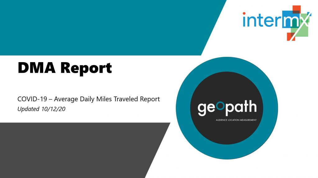 DMA Report | October 12th, 2020 <br/> <span style='color:#000000;font-size: 18px;'>Report showing travel trends for every DMA across the country</span>
